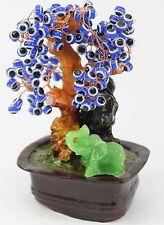 Feng Shui Blue Cat's Eye Gem Stone Wealth Lucky Tree Gift & Home Decor US Seller