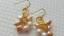 PEARL AND GOLD PLATED COPPER EARRINGS (GOLD PLATED ST/SILVER SHEPHERD HOOK.)
