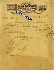 1915 LETTERHEAD Galveston Texas KNAPP BROTHERS printers stationers 2207 MECHANIC