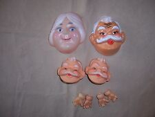Lot of 4 Westrim Craft Christmas Decor Santa Claus & Mrs Doll Face Mask hands