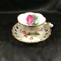 Vintage Porcelain CHERRY CHINA Footed Rose Teacup Lace Rim Saucer