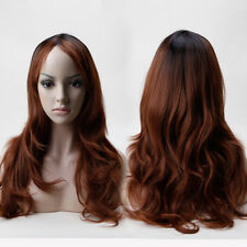 Womens Cosplay Wigs Synthetic Fiber Long Wave Curly Straight Hair Wigs Brown Wig