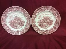Alfred Meakin 'English Village' Design Side/Cake Plates in pink and white X 2