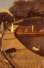Oil painting walter greaves - the boating pond, battersea park dusk landscape