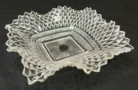 Vintage Indiana Glass Square Candy Dish Crimped Diamond Point