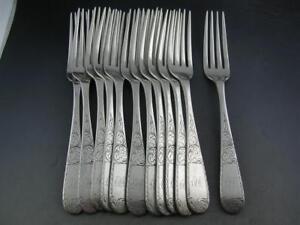 """12 Coin Silver S KIRK & SON 7 5/8"""" Dinner Size Forks MAYFLOWER 1846 ~ 10.15 mark"""