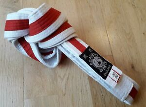 280cm Academy red on white Taekwondo martial arts belt in nice clean condition