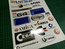 More details for commodore 64 & amiga a4 vinyl sticker sheet of 20 stickers