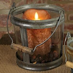 Primitive/Farmhouse glass/Metal Candle Pail Early American Reproduction