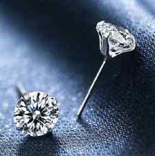 New 925 Silver Classic Swarovski Crystal Lab Diamond Cutting Stud Earrings Gift