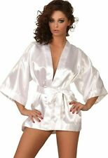 BEAUTY NIGHT MAGGIE DRESSING GOWN & THONG SET ONE Size S-L (8-14) WHITE