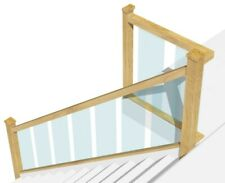 Oak and Glass Staircase Banister Set 3.6 m + Landing 0.8 m Embedded Glass Panels