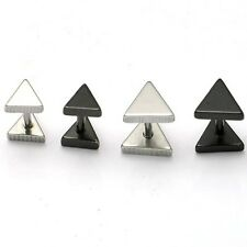 1pair Triangle titanium steel Punk Women Men earrings Silver Black ear stud