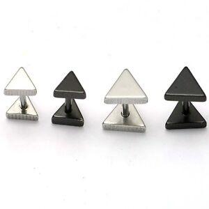 1pair Triangle titanium steel Punk Women Men earrings Silver Black ear stud
