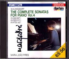 Maria Joao PIRES Signed MOZART Piano Sonata K.332 333 457 Fantasie 475 DENON CD