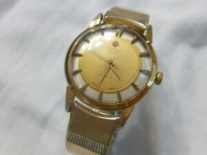 Working Rare Vintage Zodiac Glorious Automatic Watch Gold Textured Dial