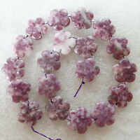 "1Strand Carved Purple Lepidolite Flower Loose Bead 15.5"" 20x20x6mm R8043"