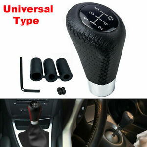 Uinversal 5 Speed Black Leather Manual Car Gear Shift Lever Shifter Stick Knob