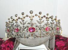 12.50cts Rose Schnitt Diamant & Turmalin Viktorianisch Look Hochzeitstag Tiara