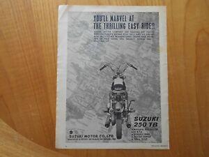 Vintage Suzuki Motor Cycle Advert -- Original -- from 1961
