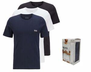 Hugo Boss RN 3 Piece 50325887 984 Mens Crew Neck T-Shirt Blue White Black