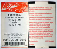 Old Original Disneyland Resort Fastpass for the Autopia 2010 Old Style Back Mint