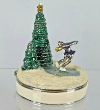 Monet 2010 Ice Skating Skater Hinged Enamel Trinket Keepsake Box w/ Charm Inside
