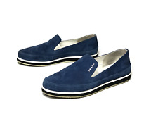 PRADA women's blue suede loafers/moccasins shoes   Size EUR 36.5 (23.5 cm/9 in)
