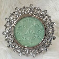 """Windsor photo frame crystal rhinestone 4"""" round silver metal tabletop picture"""