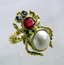 Vintage Genuine Sapphire Mabe Pearl INSECT Ring
