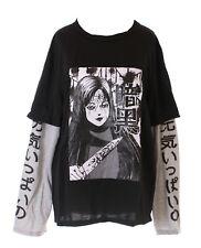 TP-184-1 Manga Girl gruselig T-Shirt Harajuku Twin-Look Japan Schriftzeichen