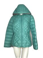 BERNARDO Green Quilted Packable Goose Down 90% Hooded Puffer Jacket Coat Size L