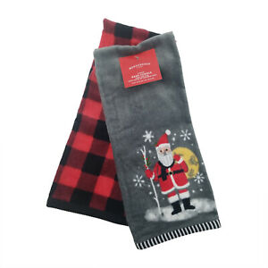 Santa Hand 2pk Towels Gray - Wondershop , Red Gray 15in x 25 in Christmas