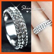18K WHITE GOLD GF WOMENS GIRLS SIMULATED DIAMOND 5MM ETERNITY BAND WEDDING RING