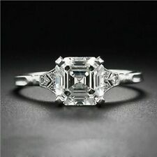 2.10 Ct Near White Asscher Cut Moissanite Engagement Ring 925 Sterling Silver