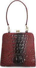 Collectif María Kiss pin up croc vintage lock Bag/bolso rojo oscuro
