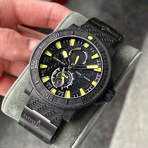 Ulysse Nardin Maxi Marine Diver Black Sea Men's Watch Wave Yellow Rubber 45.8mm