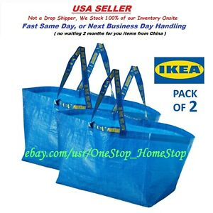 Qty 2 IKEA Large Blue Bags, 19 gallon, Shopping Laundry Grocery Bag Durable