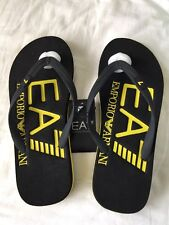 BNWT Men's EMPORIO ARMANI EA7 Black/Yellow Rubber Flip Flops. Sizes: UK 6.5-9
