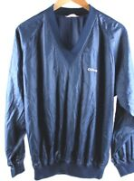 Spalding Mens Vintage Vneck Windbreaker Pullover Jacket Navy Blue Size Large