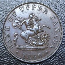 1850 BANK OF UPPER CANADA-HALF PENNY BANK TOKEN-COPPER-Dragon Slayer BR720 PC-5A
