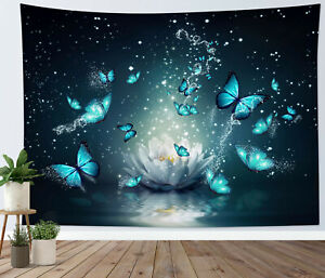 Fantasy Blue Butterfly Tapestry White Lotus Wall Hanging For Living Room Bedroom