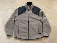 Men's Woolrich Technowool Full Zip  Sweater Jacket L Large Gray Wool Blend