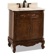 """30"""" Traditional Single Bathroom Vanity Nutmeg Brown + Cream Marble Top Sink 32"""""""