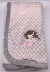 "Blankets & Beyond Pink Mermaid Lovey Chevron Baby Blanket Super Soft 27x31"" EUC"