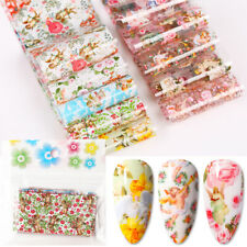 10 Pcs Nail Foil Stickers Colorful Flowers Transfer Decals Nail Art Decorations