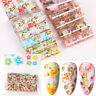 10Pcs/set Nail Foil Stickers Colorful Flower Transfer Decals Nail Art Decoration