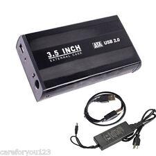 "Black 3.5"" SATA HDD External Case Enclosure 3.5 inch USB 2.0 Hard Drive Disk New"