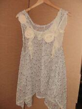 Luxury Women's Crochet Tunic with Chiffon Rose, Cream, RRP £27