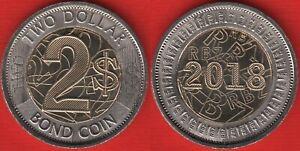 "Zimbabwe 2 dollars 2018 ""Bond coin"" BiMetallic UNC"